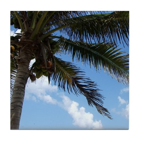 Tropical Sky Palm Tile Coaster