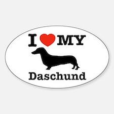 I love my Daschund Oval Decal