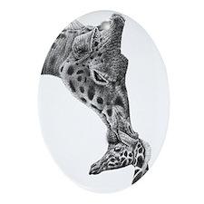 Giraffe and Calf Ornament (Oval)