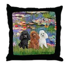 Lilies #2/3 Poodles (TM) Throw Pillow