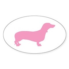 Pink Dachshund Oval Decal