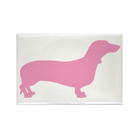 Pink Dachshund Rectangle Magnet (10 pack)