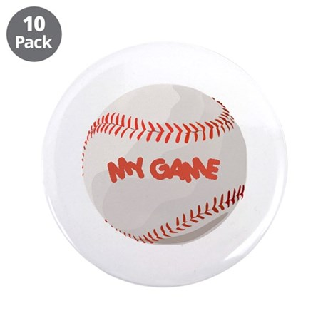 """""""My Game"""" baseball 3.5"""" Button (10 pack)"""