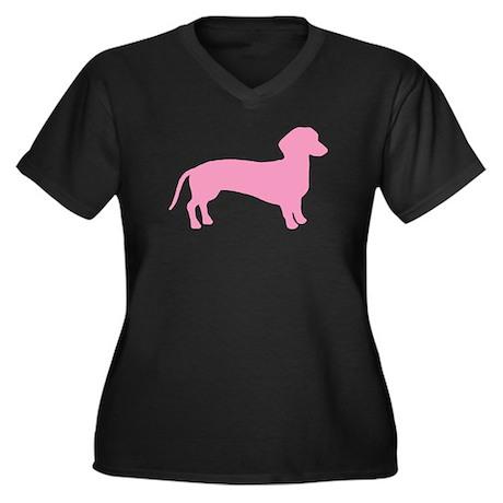 Pink Dachshund Dog Women's Plus Size V-Neck Dark T