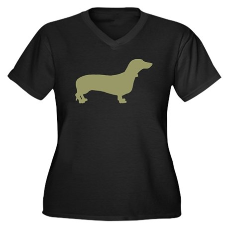 Sage Green Dachshund Women's Plus Size V-Neck Dark