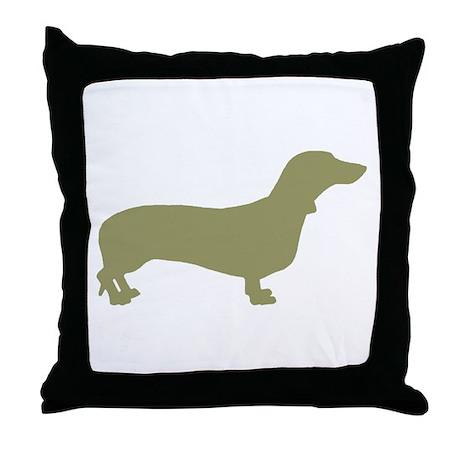 Sage Green Dachshund Throw Pillow