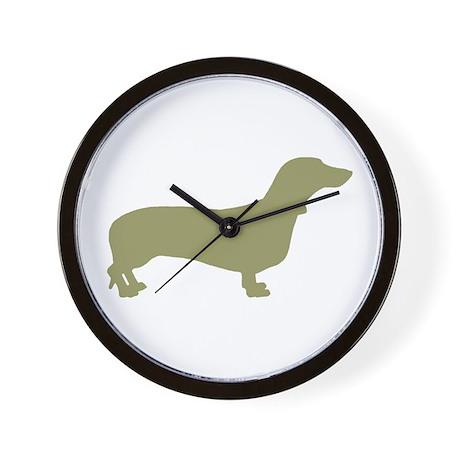 Sage Green Dachshund Wall Clock By Woofdogdesign