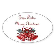 Portuguese Christmas Oval Sticker (10 pk)
