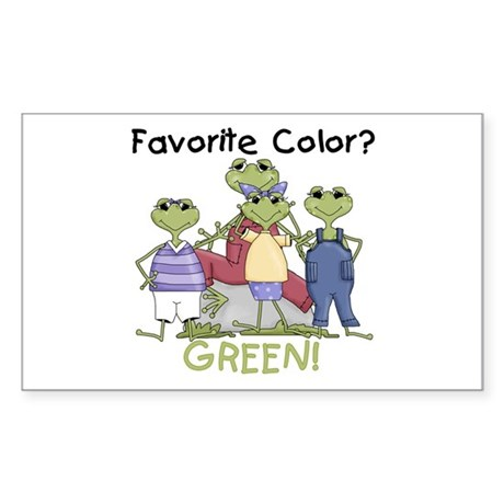 Frog Color Green Rectangle Sticker 50 pk)