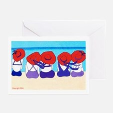 """Red Hat Ladies """"On the Beach"""" Greeting Cards (Pack"""