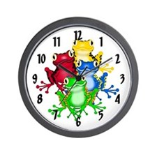 Rainbow of Frogs Wall Clock