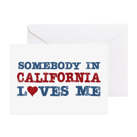 Somebody in California Loves Me Greeting Cards (Pk