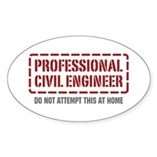 Professional Civil Engineer Oval Decal