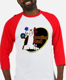 Number 1 Bowling Dad-wht Baseball Jersey