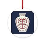 Asian Vase (Blue) Ornament (Round)