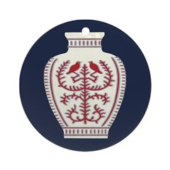 Asian Vase (Blue) Ornament (Round)
