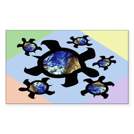 Earthly Turtles Rectangle Sticker