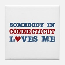 Somebody in Connecticut Loves Me Tile Coaster