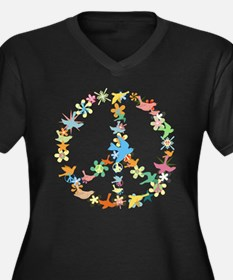 Abstract Art Peace Sign Women's Plus Size V-Neck D