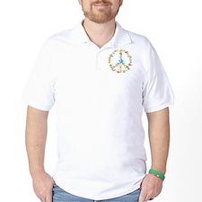 Abstract Art Peace Sign Golf Shirt