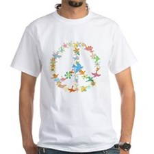 Abstract Art Peace Sign White T-Shirt