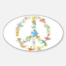 Abstract Art Peace Sign Oval Decal