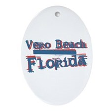 Vero Beach Florida Vintage Art Oval Ornament