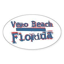 Vero Beach Florida Vintage Art Oval Decal