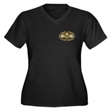 Combat Medic(gold) Women's Plus Size V-Neck Dark T
