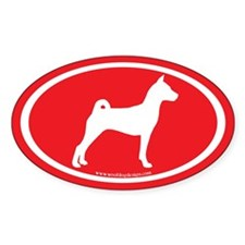Basenji Dog Oval (white on red) Oval Decal