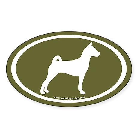 Basenji Dog Oval (white/sage green) Oval Sticker