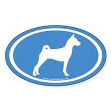 Basenji Dog Oval (white on blue) Oval Decal