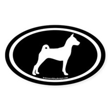 Basenji Dog Oval (white/blk) Oval Decal