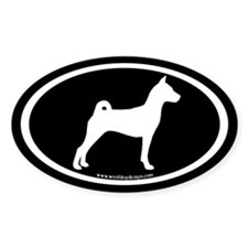Basenji Dog Oval (white/blk) Oval Sticker (10 pk)
