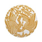 Wild Birds and Bamboo Ornament (Round)