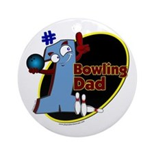 Blue number 1 bowling dad Ornament (Round)
