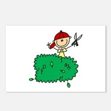Stick Figure Trims Hedge Postcards (Package of 8)