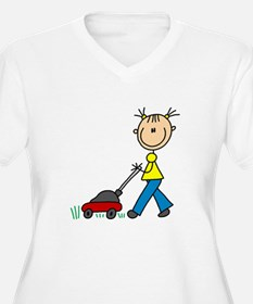 Stick Girl Mowing Lawn T-Shirt