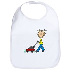 Stick Girl Mowing Lawn Bib