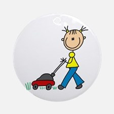 Stick Girl Mowing Lawn Ornament (Round)