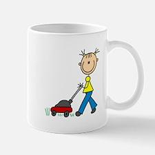 Stick Girl Mowing Lawn Mug