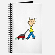 Stick Girl Mowing Lawn Journal