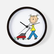 Stick Girl Mowing Lawn Wall Clock