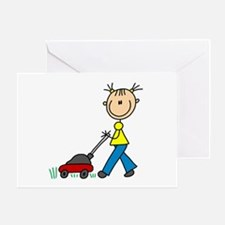 Stick Girl Mowing Lawn Greeting Card