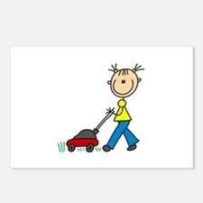 Stick Girl Mowing Lawn Postcards (Package of 8)