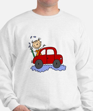 Stick Girl Washing Car Sweatshirt