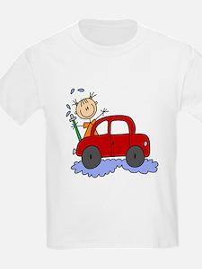 Stick Girl Washing Car T-Shirt