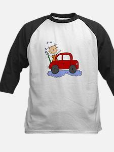 Stick Girl Washing Car Kids Baseball Jersey