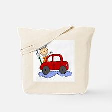 Stick Girl Washing Car Tote Bag