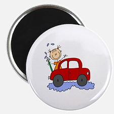 """Stick Girl Washing Car 2.25"""" Magnet (10 pack)"""